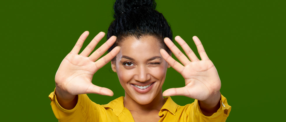 Reasons to break up illustrated by a woman winking and holding up 10 fingers in front of her