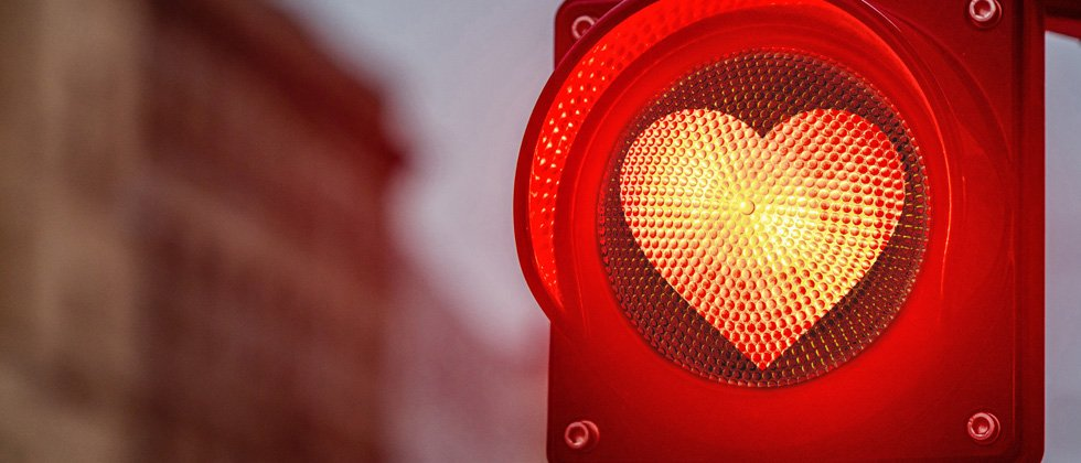 Heart shaped red light showing love has temporarily stopped