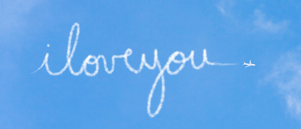 I love you written in the clouds by a plane